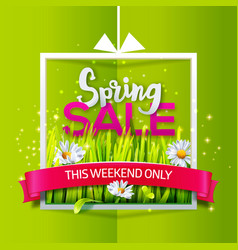 Spring sale banner with red ribbon vector