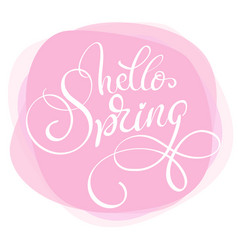 text hello spring on pink background calligraphy vector image vector image