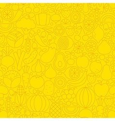 Thin Yellow Fruits Vegetables Line Seamless vector image