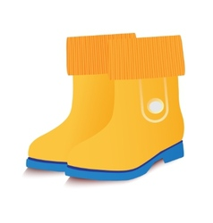 Yellow baby gumboots vector
