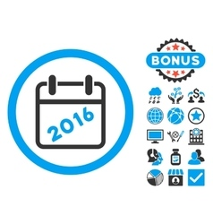 2016 calendar flat icon with bonus vector