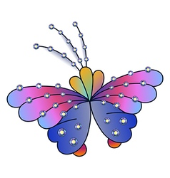 Butterfly colored gem rhinestones vector