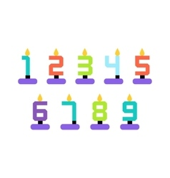 Cute colorful number shaped candles set vector image