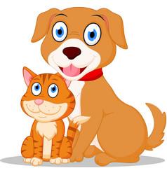 Cute dog and cat cartoon vector