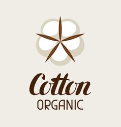 Cotton label emblem for clothing and production vector