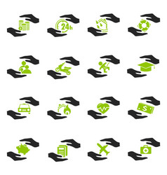 Insurance hands icons vector