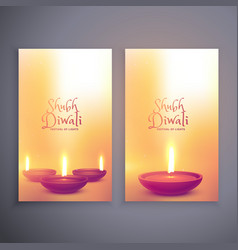 two vertical diwali festival banners vector image