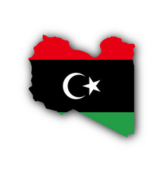 Map and flag of libya vector
