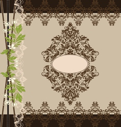 Brown floral ornate vintage frame vector