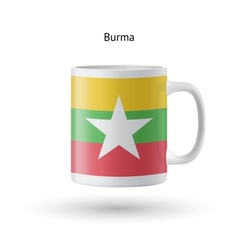 Burma flag souvenir mug on white background vector