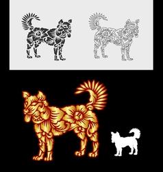 Dog gold floral ornament decoration vector image