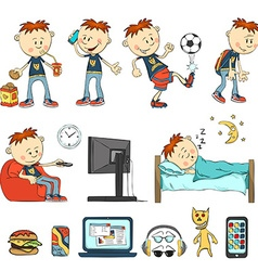 Boy in different situations vector