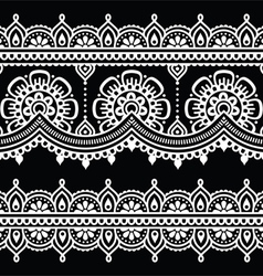 Mehndi indian henna white tattoo seamless pattern vector