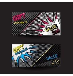 Set of gift voucher card template pop art bright vector