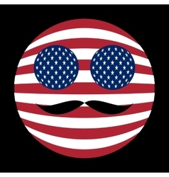 Icon of american flag with mustaches in globe form vector