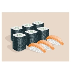 Rolls with cucumber and sushi with fish vector