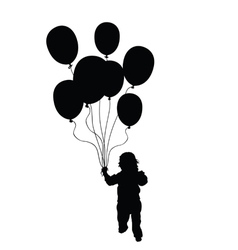 Child holding balloons silhouette in black vector