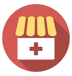 Drugstore flat round icon with long shadow vector