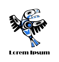 Totem bird indigenous art stylization vector