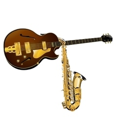 Jazz guitar and saxophone vector