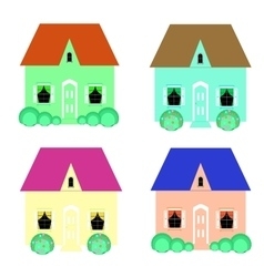 Set cool detailed houses vector