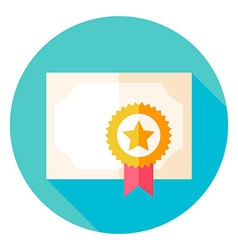 Paper diploma with award circle icon vector