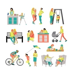 set of people in situations at home and vector image