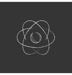 Atom drawn in chalk icon vector