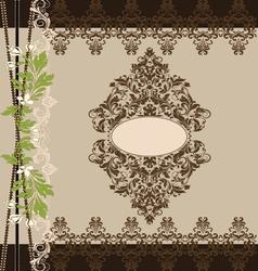 brown floral ornate vintage frame vector image vector image