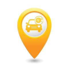 Car with wheel and tools icon map pointer yellow vector