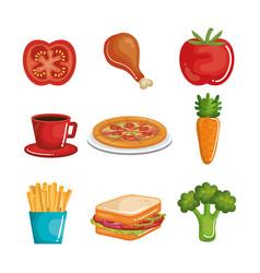 Delicious food set vector