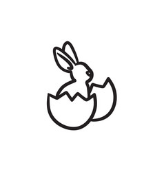 Easter bunny sitting in egg shell sketch icon vector