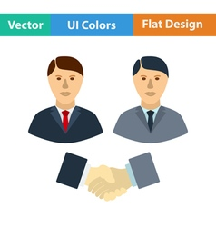 Flat design icon of meeting businessmen vector