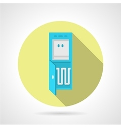 Flat water cooler yellow round icon vector image vector image