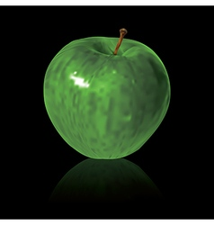 green apple isolated on black background vector image vector image