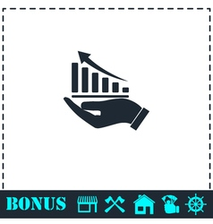 Growing graph holding by hand icon flat vector