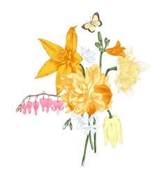 hand drawn bouquet of spring flowers vector image vector image