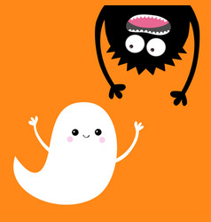 happy halloween card flying ghost spirit monster vector image vector image