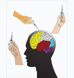 head and syringe vector image