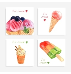 Ice cream watercolor icons composition banner vector