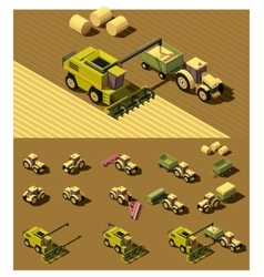 isometric low poly agricultural machinery vector image