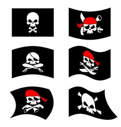 Jolly Roger Pirate flag Skull and crossbones vector image