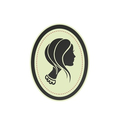 Modern lady cameo profile silhouette and frame vector image vector image