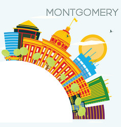 montgomery usa skyline with color buildings blue vector image