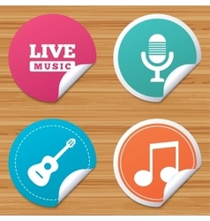 Musical elements icon microphone and guitar vector