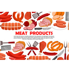 Poster of fresh meat products vector