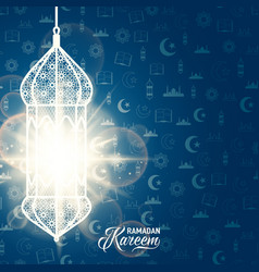 Ramadan kareem blue color vector