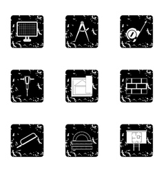 Repair tools icons set grunge style vector