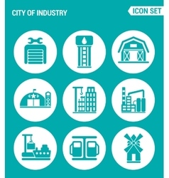 set of round icons white City of industry garage vector image vector image