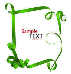 Shiny green ribbon on white background with copy vector
